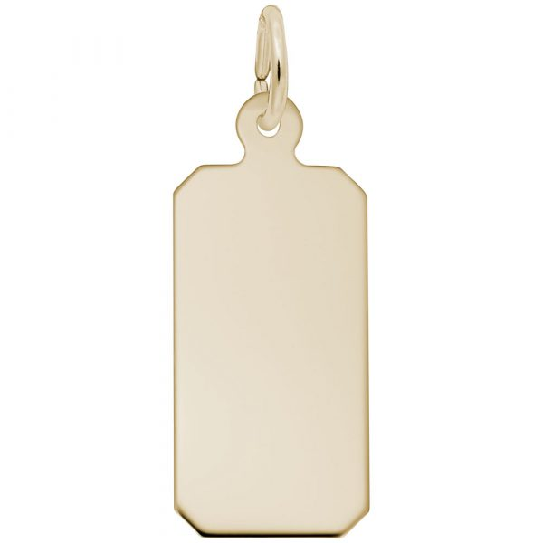 14K Yellow Gold Dog Tag Charm