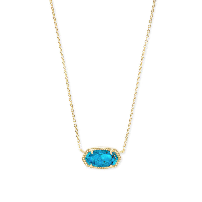Kendra Scott Elisa Gold Bronze Veined Turquoise Magnesite Pendant Necklace