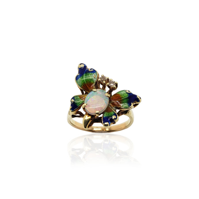 Estate Oval Opal and Diamond Butterfly Ring