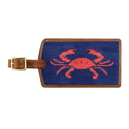 Smathers & Branson Coral Crab Needlepoint Luggage Tag