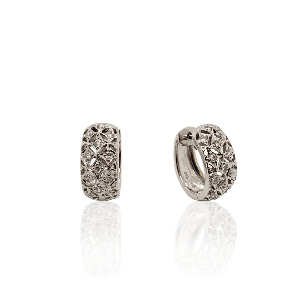Estate Diamond Filagree Huggie Hoop Earrings
