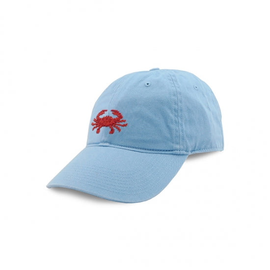 Smathers & Branson Coral Crab Needlepoint Hat (Light Blue)