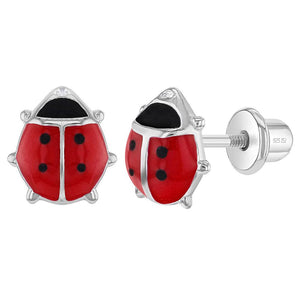 Children's Sterling Silver Red Enamel Ladybug Stud Earrings