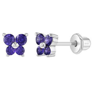 Children's Sterling Silver Purple Butterfly Screwback Earrings