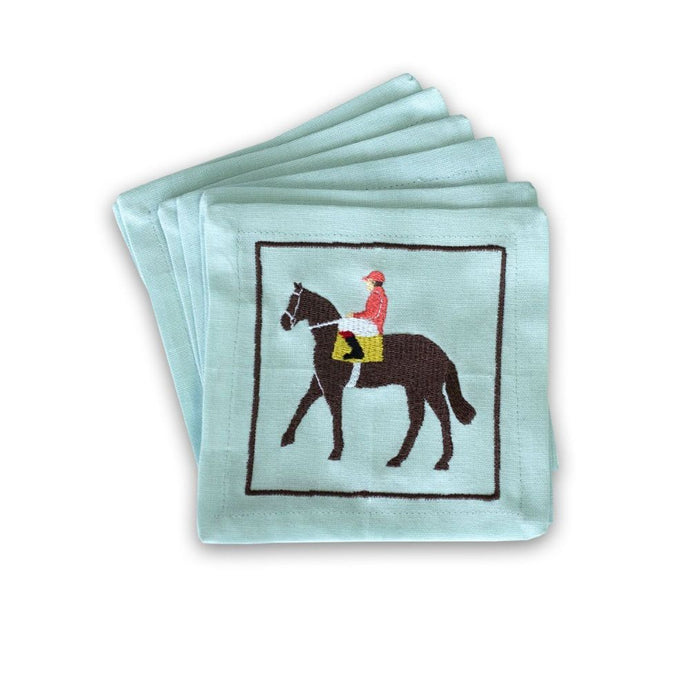 Pomegranate Riders Up Embroidered Napkins Set/6