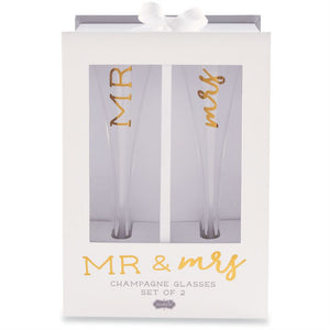 Mud Pie Mr. & Mrs. Champagne Glasses