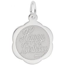 Load image into Gallery viewer, Sterling Silver Happy Birthday Scalloped Disc Charm