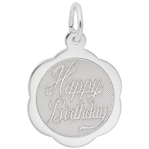 Sterling Silver Happy Birthday Scalloped Disc Charm
