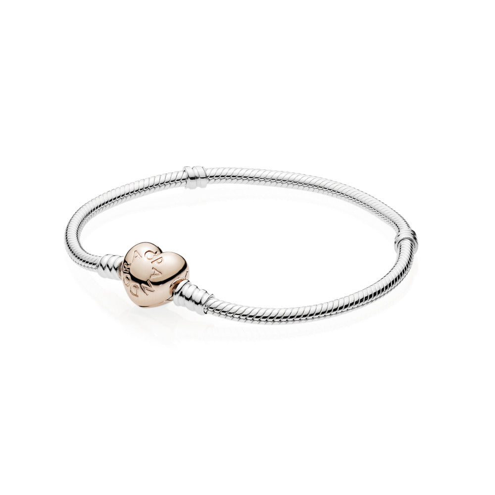Pandora Moments  Snake Chain Bracelet with Pandora Rose Heart Clasp