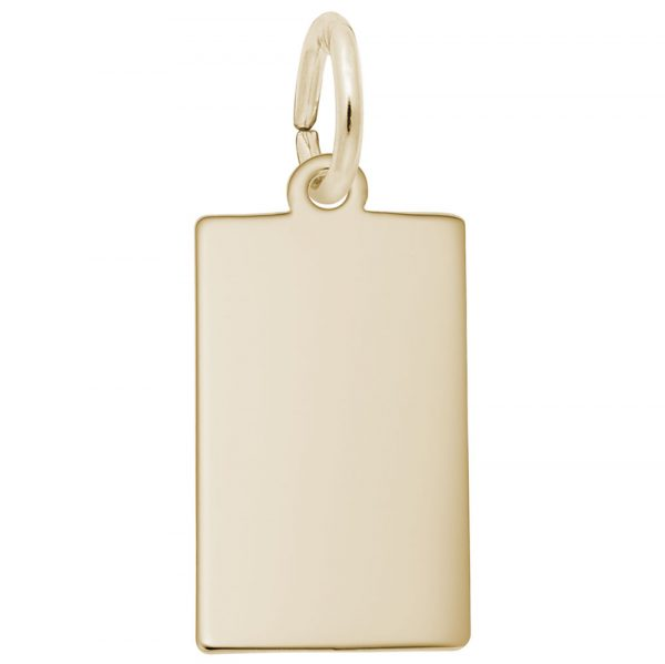 14K Yellow Gold Rectangle Dog Tag Plate Charm