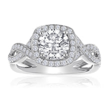 Load image into Gallery viewer, 14k Halo Twisted Shank Engagement Ring