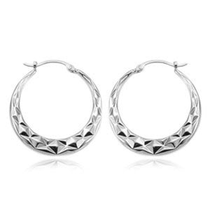 Sterling Silver Quilted Diamond Pattern Hoop Earrings