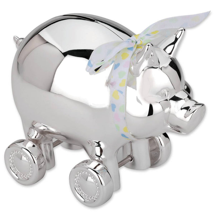 Reed & Barton Piggy with Wheels Silverplate Bank