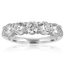 Load image into Gallery viewer, Platinum Shared Prong Diamond Wedding Band
