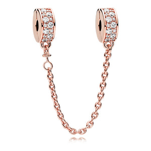 Pandora Rose Clear Pavé Safety Chain Clip Charm