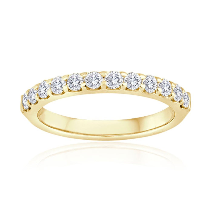 14k Yellow Gold Shared Prong Diamond Wedding Band