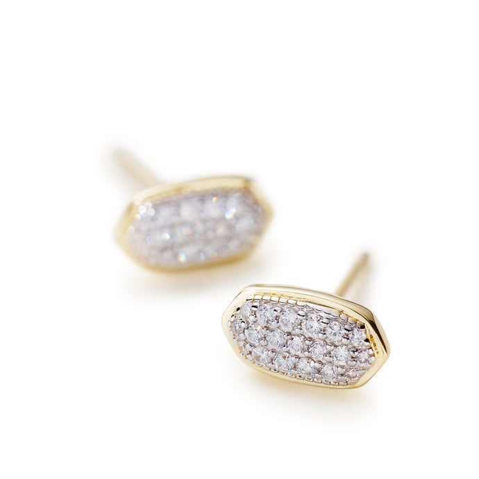 Kendra Scott Marisa Stud Earrings in White Diamond and 14K