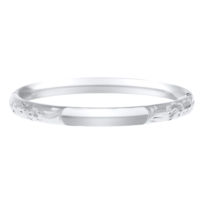 Sterling Silver Baby Bangle with Floral Engraving
