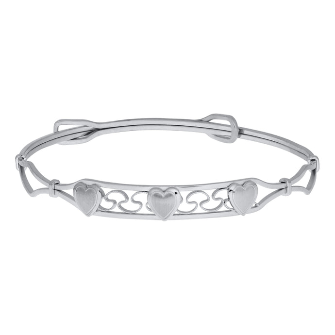 Sterling Silver Children's Bangle with Hearts