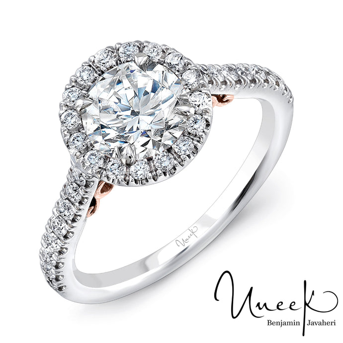Uneek Fiorire Diamond Halo Engagement Ring