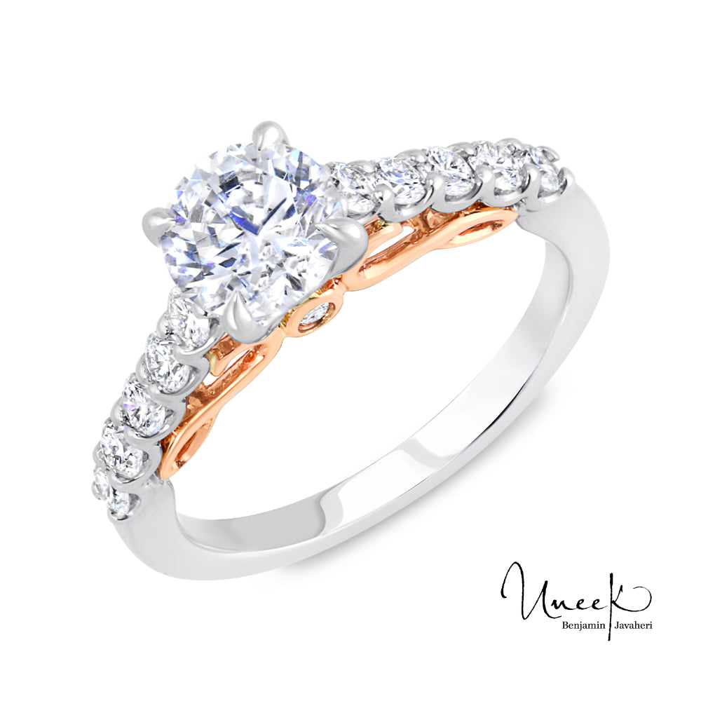 Uneek 14k White/Rose Gold Engagement Ring