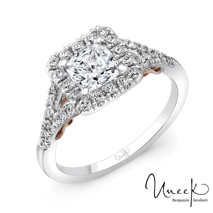 Uneek 14k White/Rose Gold Halo Engagement Ring