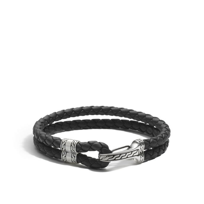 John Hardy Gents Classic Chain Hook Clasp Leather Bracelet