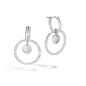 John Hardy Dot Hammered Interlink Drop Earring