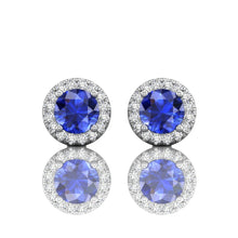 Load image into Gallery viewer, Martin Flyer Round Sapphire and Diamond Earrings