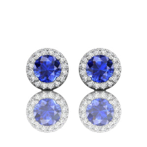 Martin Flyer Round Sapphire and Diamond Earrings