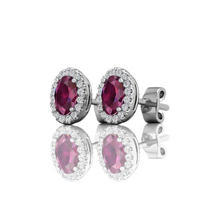 Martin Flyer Oval Ruby and Diamond Earrings