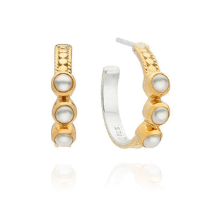 Anna Beck Small Triple Pearl Hoop Earrings