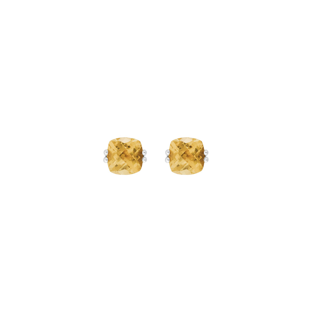 Cushion Cut Citrine Stud Earrings