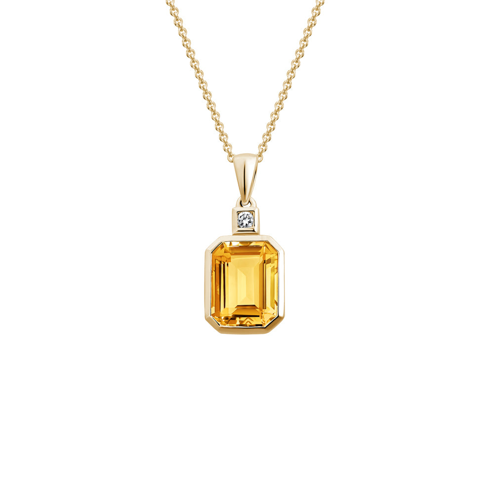 Emerald Cut Semi-Precious Gemstone Pendant Necklace