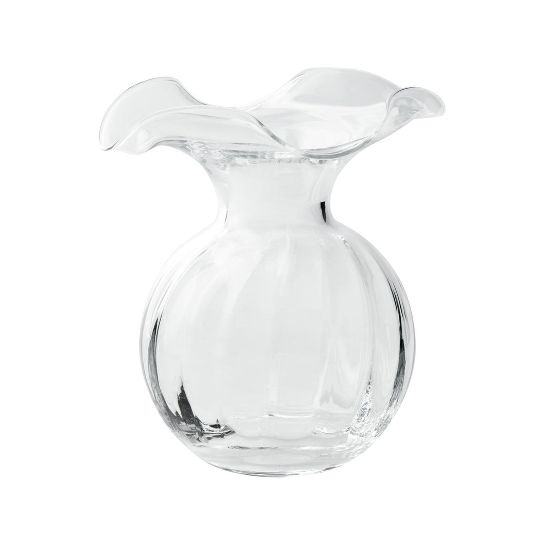 Vietri Hibiscus Glass Clear Small Fluted Vase