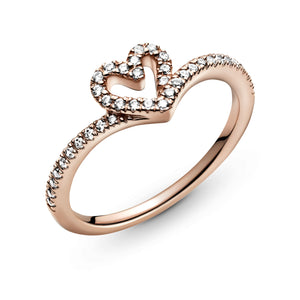Pandora Rose Sparkling Wishbone Heart Ring