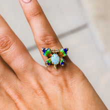 Load image into Gallery viewer, Estate Oval Opal and Diamond Butterfly Ring