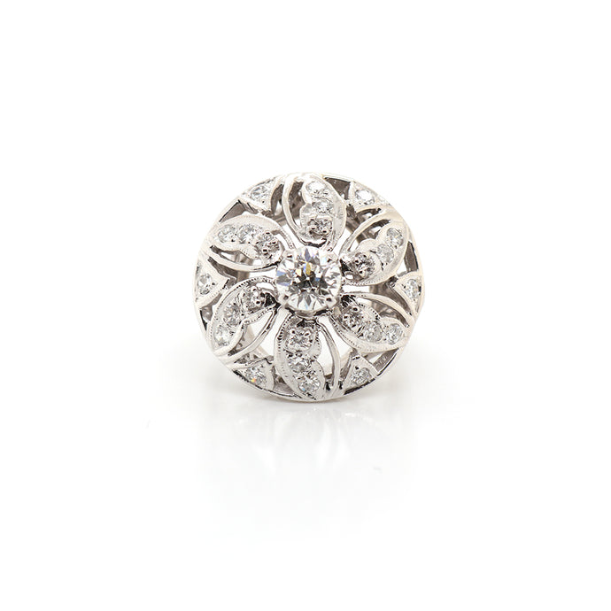 Estate 14k White Gold Floral Top Diamond Ring