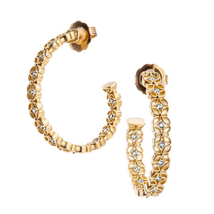 Jack Kelége Diamond Floral Hoop Earrings