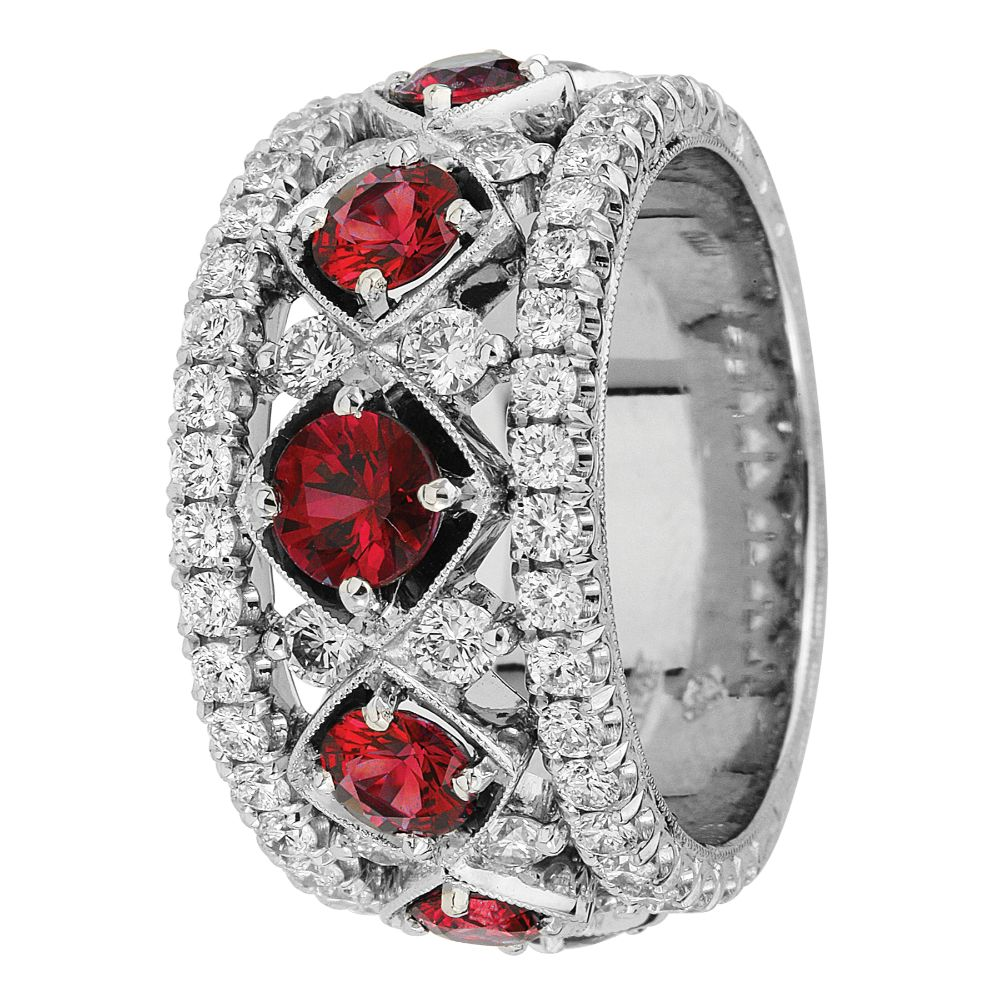 Jack Kelége Two Row Diamond and Ruby Band