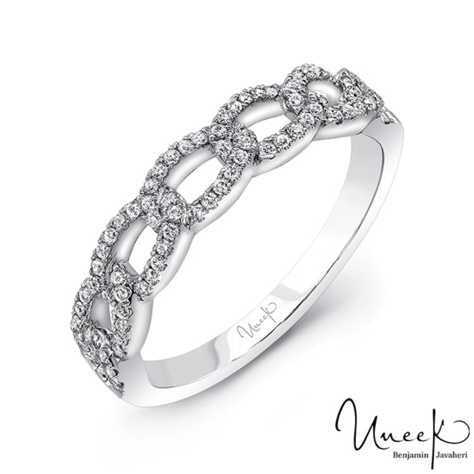 "Uneek ""La Mirada"" 18k White Gold Stackable Ring"