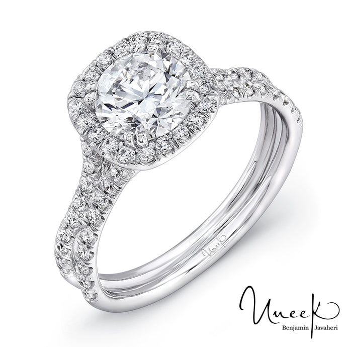 Uneek Pave Double Shank Halo Engagement Ring