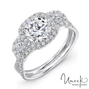 Uneek 3-Stone Halo Engagement Ring