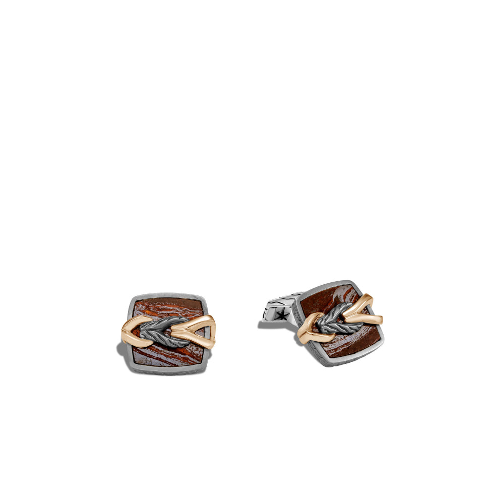 John Hardy Asli Classic Chain Link Red Tiger Iron Cuff Links