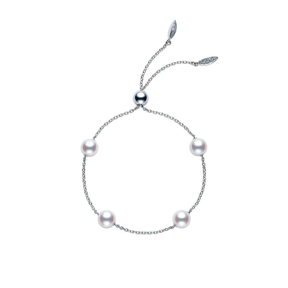 Mikimoto Akoya Cultured Pearl Station Bracelet in White Gold