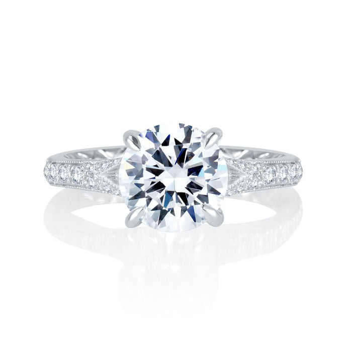 A. JAFFE Unique Floral Split Shank Engagement Ring