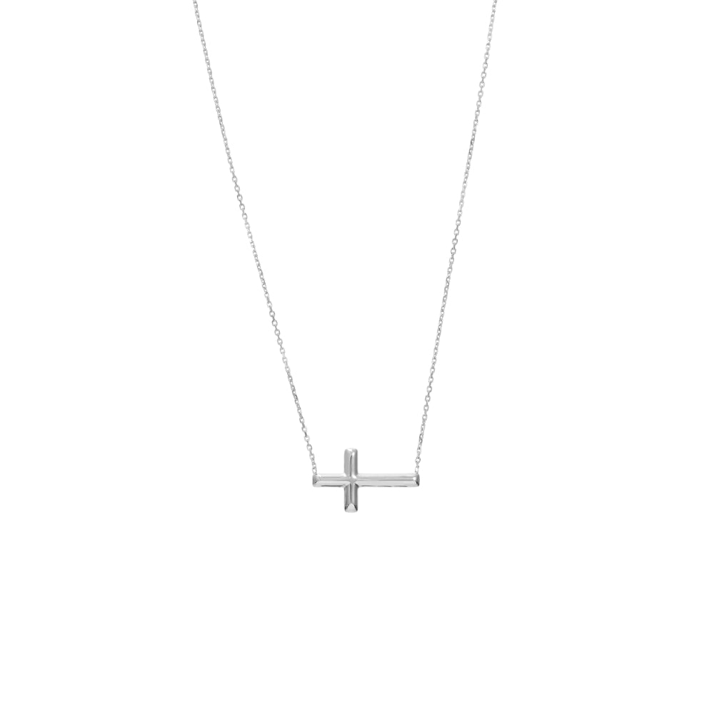 Sterling Sideways Cross Necklace