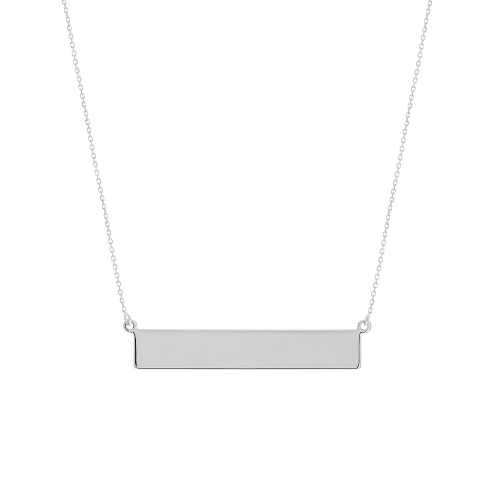 14k Engravable Name Plate Bar Necklace