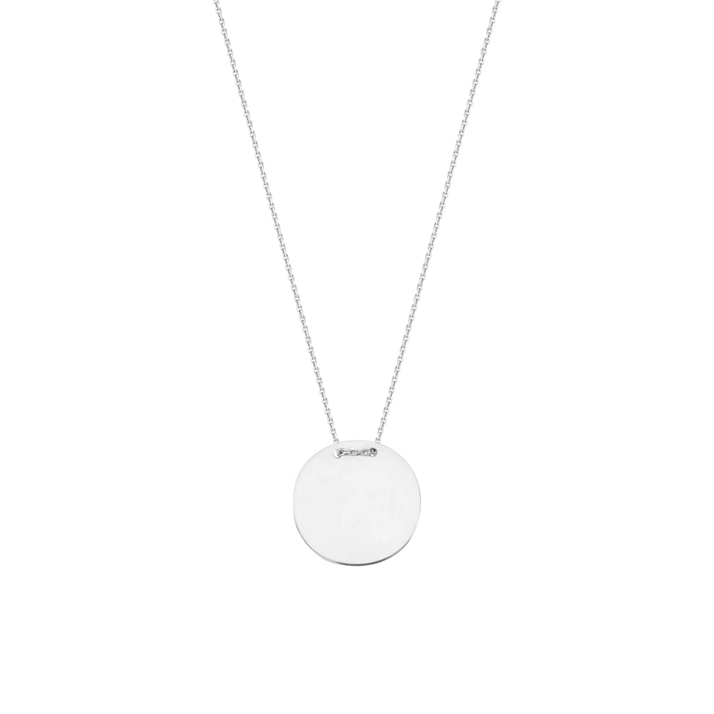 Sterling Engravable Round Disc Necklace