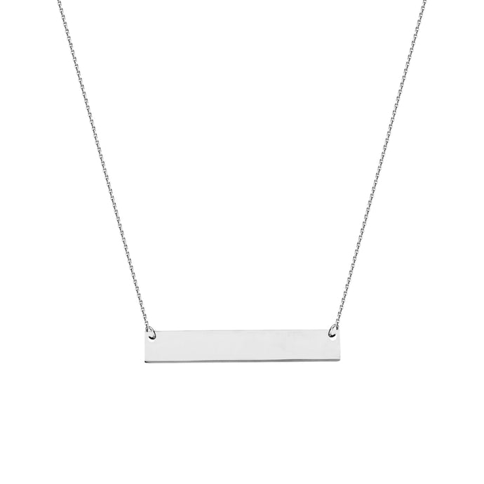 14k Engravable Mini East/West Name Plate Bar Necklace